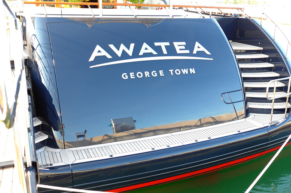 awatea illuminated yacht sign