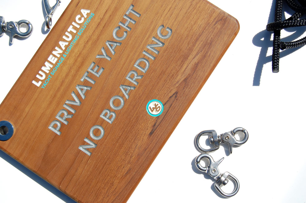 private yacht no boarding sign teak